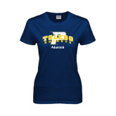 Ladies Navy T Shirt-Arched Toledo Rockets