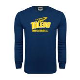 Navy Long Sleeve T Shirt-Baseball