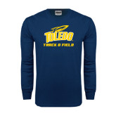 Navy Long Sleeve T Shirt-Track and Field