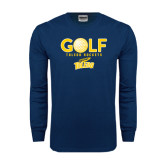 Navy Long Sleeve T Shirt-Stacked Golf Design