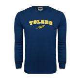 Navy Long Sleeve T Shirt-Arched Toledo w/ Rocket