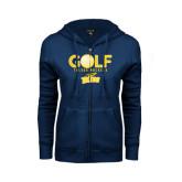 ENZA Ladies Navy Fleece Full Zip Hoodie-Stacked Golf Design