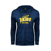 ENZA Ladies Navy Fleece Full Zip Hoodie-Football