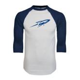 White/Navy Raglan Baseball T-Shirt-Rifle