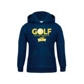 Youth Navy Fleece Hoodie-Stacked Golf Design