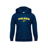 Youth Navy Fleece Hoodie-Arched Toledo w/ Rocket