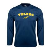 Syntrel Performance Navy Longsleeve Shirt-Arched Toledo w/ Rocket