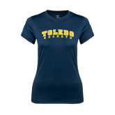 Ladies Syntrel Performance Navy Tee-Arched Toledo Rockets