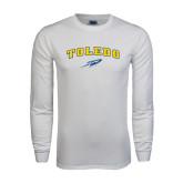 White Long Sleeve T Shirt-Arched Toledo w/ Rocket