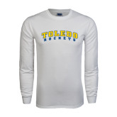 White Long Sleeve T Shirt-Arched Toledo Rockets