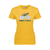 Ladies Gold T Shirt-Track and Field