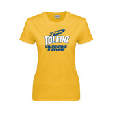 Ladies Gold T Shirt-Swimming and Diving