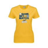 Ladies Gold T Shirt-Game Set Match