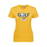 Ladies Gold T Shirt-Stacked Golf Design