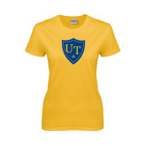 Ladies Gold T Shirt-University Mark