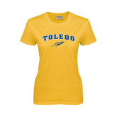 Ladies Gold T Shirt-Arched Toledo w/ Rocket