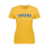 Ladies Gold T Shirt-Arched Toledo Rockets