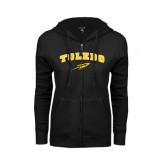ENZA Ladies Black Fleece Full Zip Hoodie-Arched Toledo w/ Rocket