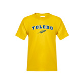 Youth Gold T Shirt-Arched Toledo w/ Rocket