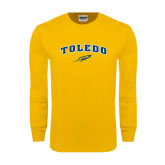Gold Long Sleeve T Shirt-Arched Toledo w/ Rocket