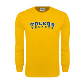 Gold Long Sleeve T Shirt-Arched Toledo Rockets