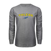 Grey Long Sleeve T Shirt-Arched Toledo w/ Rocket