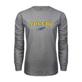 Grey Long Sleeve T Shirt-Arched Toledo w/ Rocket