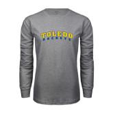 Grey Long Sleeve T Shirt-Arched Toledo Rockets
