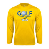 Syntrel Performance Gold Longsleeve Shirt-Stacked Golf Design