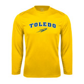 Syntrel Performance Gold Longsleeve Shirt-Arched Toledo w/ Rocket