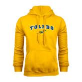 Gold Fleece Hoodie-Arched Toledo w/ Rocket