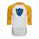 White/Gold Raglan Baseball T-Shirt-University Mark
