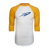 White/Gold Raglan Baseball T-Shirt-Rifle