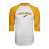 White/Gold Raglan Baseball T-Shirt-Arched Toledo w/ Rocket