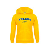 Youth Gold Fleece Hoodie-Arched Toledo w/ Rocket