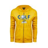 ENZA Ladies Gold Fleece Full Zip Hoodie-Stacked Golf Design