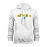 White Fleece Hoodie-Arched Toledo w/ Rocket