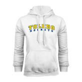 White Fleece Hoodie-Arched Toledo Rockets