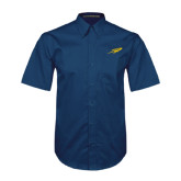 Navy Twill Button Down Short Sleeve-Rocket