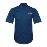 Navy Twill Button Down Short Sleeve-Arched Toledo Rockets