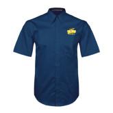 Navy Twill Button Down Short Sleeve-Football