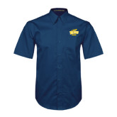 Navy Twill Button Down Short Sleeve-Tennis