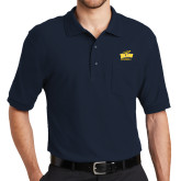 Navy Easycare Pique Polo w/ Pocket-Baseball