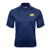 Navy Textured Saddle Shoulder Polo-Track and Field