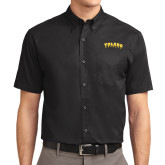 Black Twill Button Down Short Sleeve-Arched Toledo Rockets