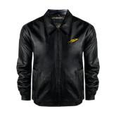 Black Leather Bomber Jacket-Rocket