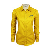 Ladies Gold Twill Button Down Long Sleeve-Rocket