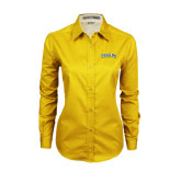 Ladies Gold Twill Button Down Long Sleeve-Arched Toledo Rockets
