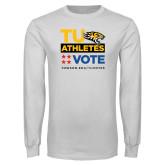 White Long Sleeve T Shirt-TU Athletics Vote