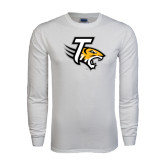 White Long Sleeve T Shirt-T w/Tiger Head